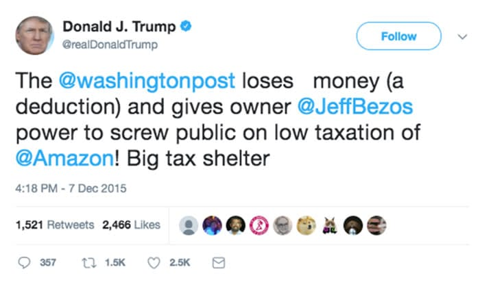 The best of the ft legal services donald trump has frequently targeted the washington post bought by jeff bezos in 2013 he called out amazon on taxation in several 2015 tweets fandeluxe Choice Image